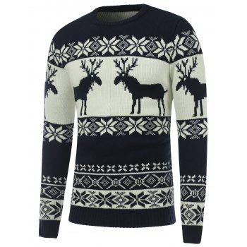 Reindeer Snowflake Crew Neck Christmas Sweater