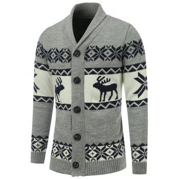 Reindeer Snowflake Button Front Christmas Cardigan