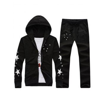 Zip Up Star Print Hoodie and Drawstring Pants Twinset