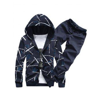 Zip Up Printed Hoodie and Casual Pants Twinset