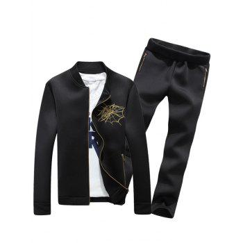 Buy Spider Embroidered Zip Jacket Casual Pants Twinset BLACK