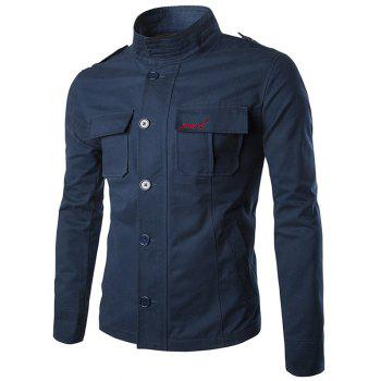 Epaulet Design Multi Pocket Embroidered Jacket
