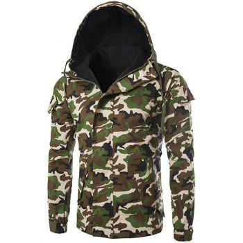 Buy Camo Pocket Flocking Hooded Jacket ARMY GREEN CAMOUFLAGE