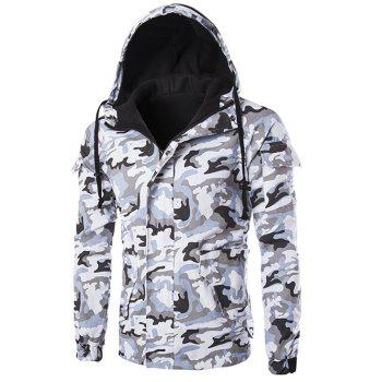 Camo Pocket Flocking Hooded Jacket