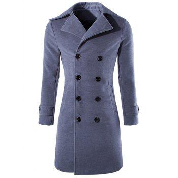 Wool Blend Button Tab Cuff Pea Coat