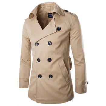 Back Vent Belted Epaulet Design Trench Coat KHAKI
