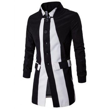 Flap Pocket Stand Collar Contrast Panel Coat