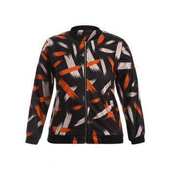 Graffiti Print Stand Collar Bomber Jacket