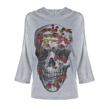 Skull Print Cold Shoulder Hooded Tee