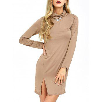 Cowl Neck Slit Slimming Dress