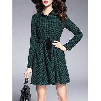 Drawstring Plaid Shirt Dress