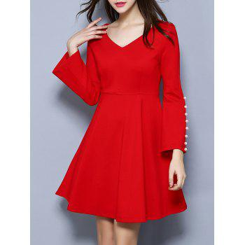 Bell Sleeve Beaded Fit and Flare Dress