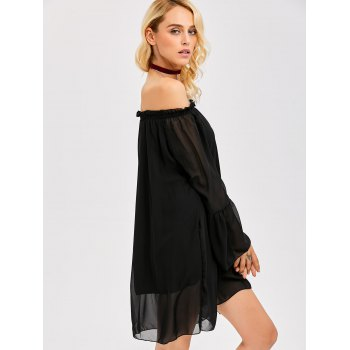 Off The Shoulder Ruffled Chiffon Dress - S S