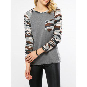 Camo Print Raglan Sleeves Pocket T-Shirt
