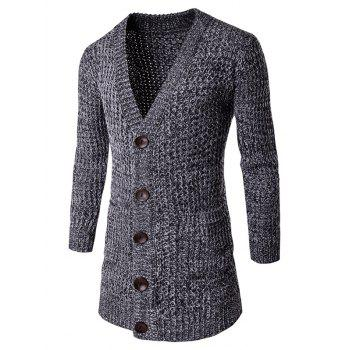 V Neck Pocket Button Front Knitted Cardigan