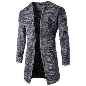 Buy Open Front Pocket Flat Knitted Cardigan LIGHT GRAY