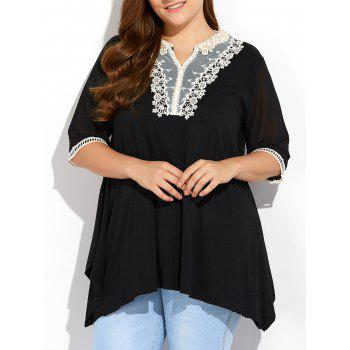 Asymmetrical Lace Insert Plus Size Blouse