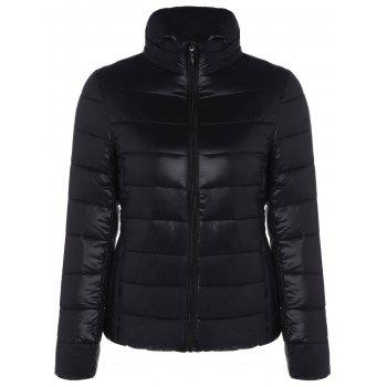 Zip Up Stand Collar Quilted Jacket