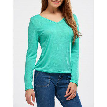 V Neck Cut Out Long Sleeve T-Shirt