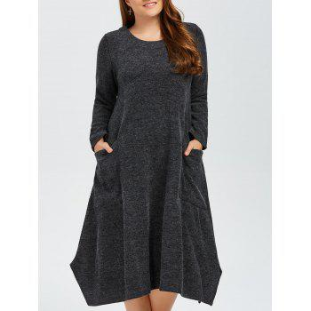 Plus Size Double Pockets Knitted Dress