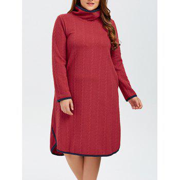 Buy Plus Size High Neck Side Slit Knitted Dress RED