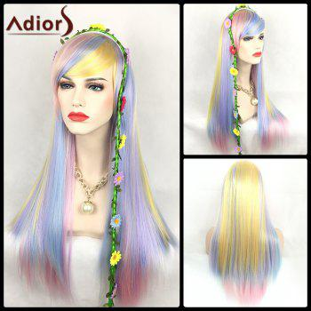 Adiors Long Straight Oblique Bang Color Mix Synthetic Party Wig