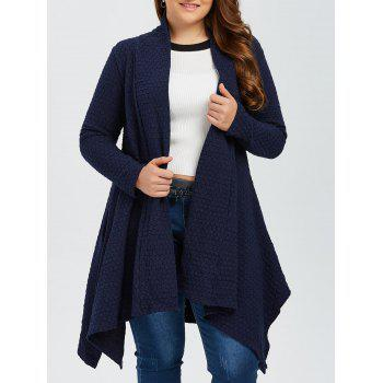 Buy Plus Size Asymmetric Dotted Knitted Cardigan PURPLISH BLUE