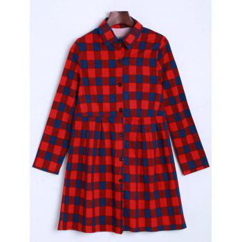 Tartan Plaid Buttoned Shirt Dress