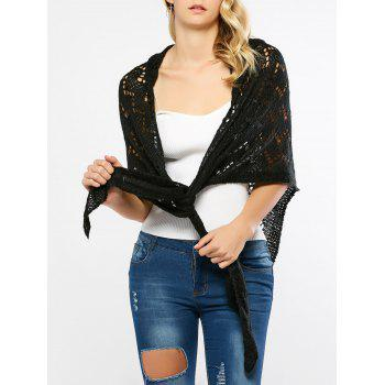 Openwork Hooded Knitted Cape