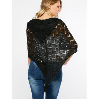 Openwork Hooded Knitted Cape - BLACK ONE SIZE