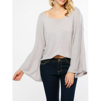 Flare Sleeves High Low Hem Knitwear