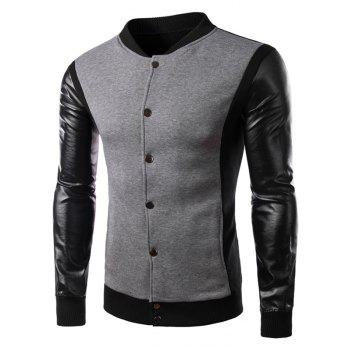 Button Up Color Block PU Leather Panel Jacket