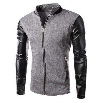 Zipper Up Color Block PU Leather Panel Jacket
