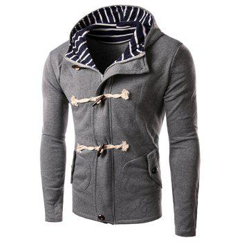 Buy Horn Button Design Zipper Hooded Jacket GRAY