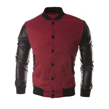 Button Up Color Block PU Leather Insert Jacket