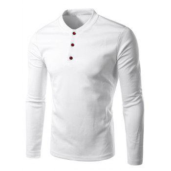 Stand Collar Long Sleeve Button Design Tee