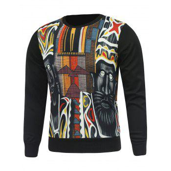 Buy Crewneck Abstract Printed Sweatshirt BLACK