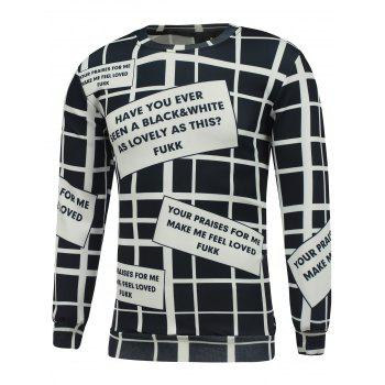 Crew Neck Graphic Print Grid Sweatshirt