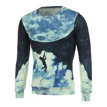 Crew Neck 3D Earth Man Print Sweatshirt