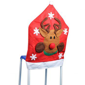 Christmas Table Decor Elk Pattern Chair Back Cover - RED