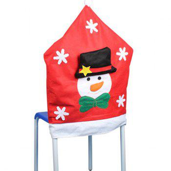 Christmas Table Decor Snowman Pattern Chair Back Cover - RED