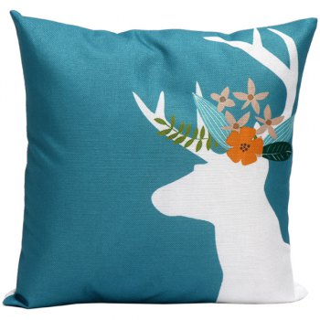 Reindeer Printed Linen Sofa Cushion Pillow Cover