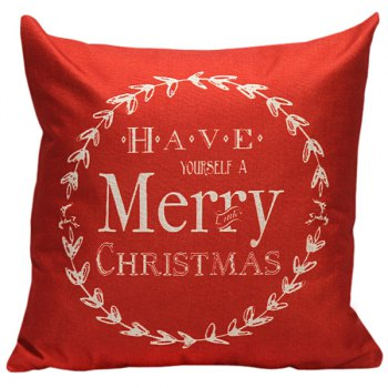 Merry Christmas Linen Sofa Cushion Pillow Cover