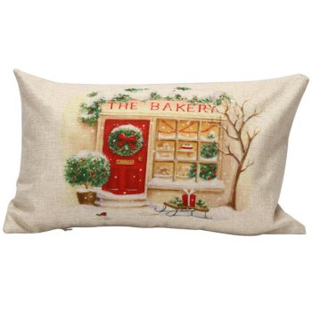 Christmas Bakery Pattern Linen Cushion Pillow Case