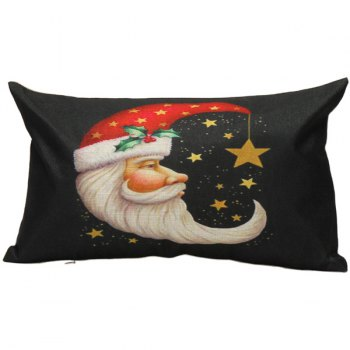 Christmas Santa Moon Printed Linen Pillow Cover