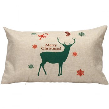 Merry Christmas Elk Printed Linen Rectangle Pillow Cover