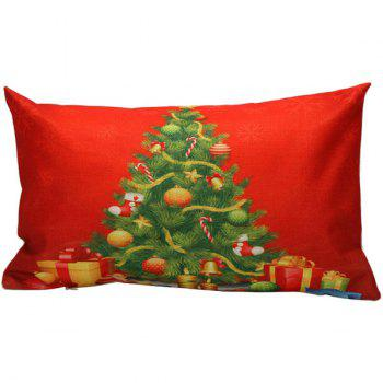 Xmas Tree Printed Christmas Bed Throw Pillow Cover