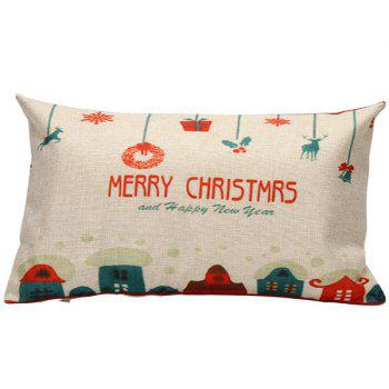 Merry Christmas Linen Cushion Home Pillow Cover