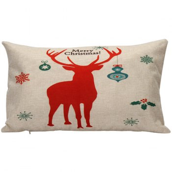 Christmas Elk Print Linen Bed Home Pillow Cover