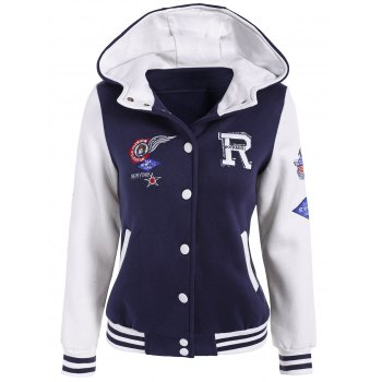 Hooded Graphic Baseball Jacket
